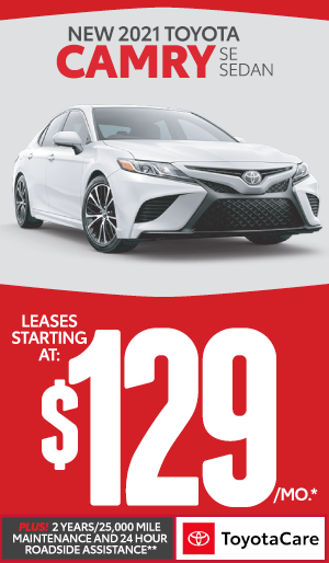 2020 toyota Camry lease starting at $129 per month - click here to view inventory