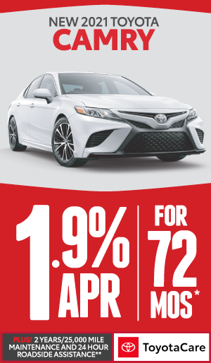 2020 toyota Camry 0% APR offer for 60 months - click here to view inventory
