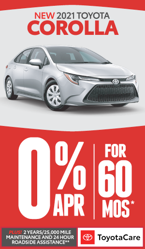 toyota corolla 0.9% APR offer for 72 months - click here to view inventory