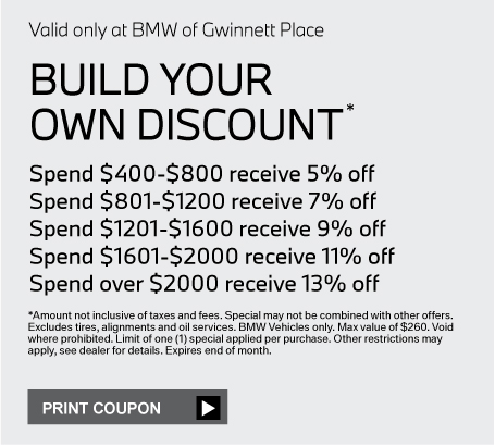Valid only at BMW of Gwinnett Place.PAINTLESS DENT REPAIR SPECIAL $85.00 FOR 1st PANEL (Max. One Dent PER PANEL) $140.00 FOR 2 PANELS (Max. One Dent PER PANEL) click for more details. *Special may not be combined with other offers. Void where prohibited. Limit of one (1) special applied per purchase. Other restrictions may apply, see dealer for details. Must present coupon at the time of service. See Advisor for details. Expires end of month.