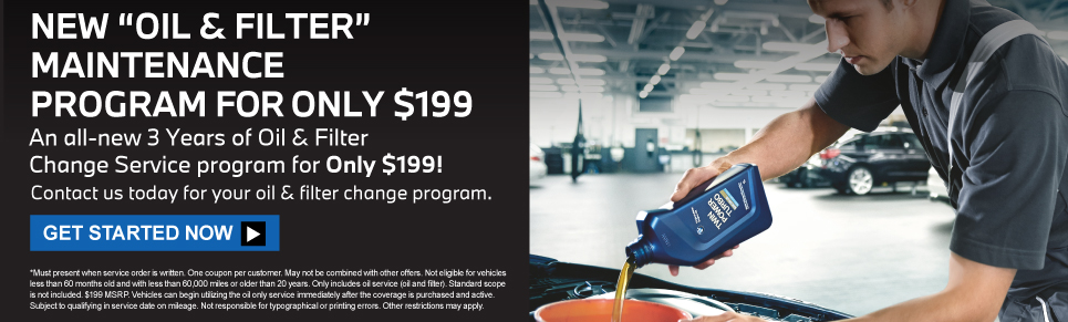 """NEW """"OIL & FILTER"""" MAINTENANCE PROGRAM - FOR ONLY $199 Get started now."""