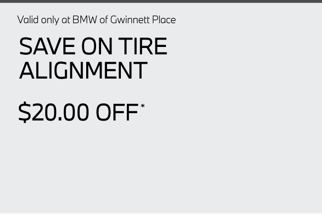 Valid only at BMW of Gwinnett Place. Build Your Own Discount. Spend $400-$800 receive 5% off. Spend $801-$1200 receive 7% off. Spend $1201-$1600 receive 9% off. Spend $1601-$2000 receive 11% off. Spend over $2000 receive 13% off.