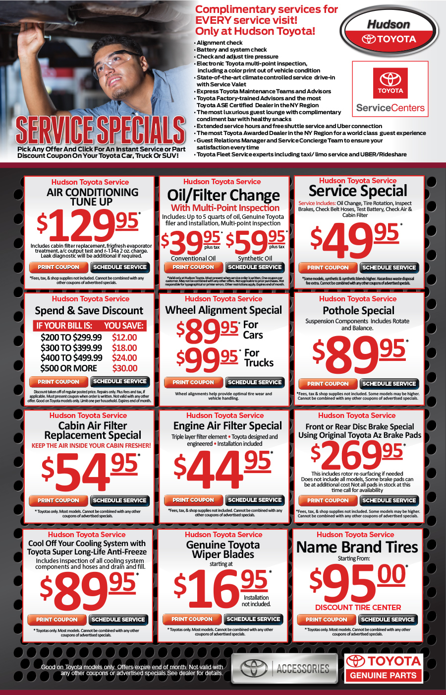 Hudson Toyota Nj Service Specials Print Amp Save