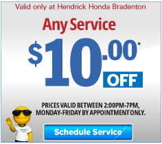 Valid only at Hendrick Honda Bradenton Oil and Filter Change Special, Non Synthetic Oil $22.95 plus tax or Synthetic Blend $26.95 plus tax. Click for more details.