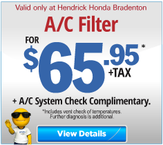 Valid only at Hendrick Honda Bradenton Brake Replacement $135.95. Click for more details.