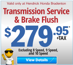 Valid only at Hendrick Honda Bradenton Complete Brake Special $235.95 off. Click for more details.