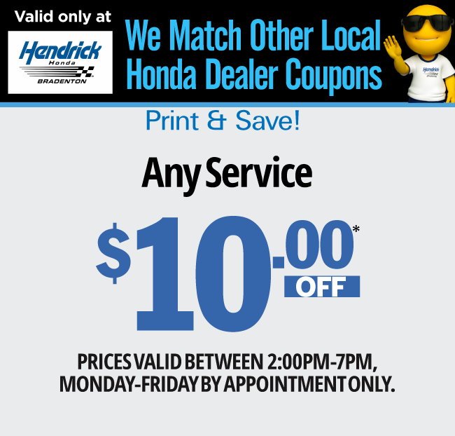 Service specials 1 for Honda oil change printable coupon
