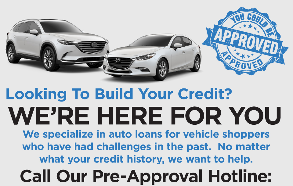 Looking to Build your Credit? You could be approved! Contact Hennessy Mazda today to find out how. Call 770-626-7096.