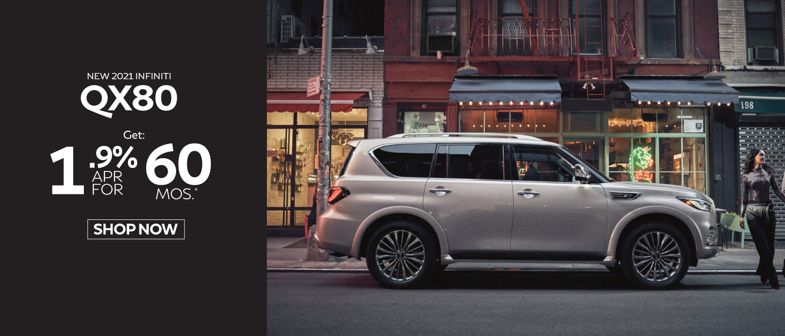 New 2020 INFINITI QX80 Luxe 4WD Lease for only $839 a mo. for 39 mos.* $6999 due at signing. Click here to begin shopping.