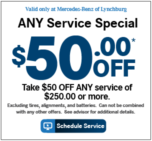 Valid only at Mercedes-Benz of Lynchburg. A Service Special. 20% OFF*Includes: Service at 10,000 miles or 1 year, synthetic motor oil replacement, oil filter replacement, all fluid level checks & corrections (dependent on factory-recommended service intervals for your vehicle's year/model), tire inflation check & correction, brake component inspection, reset maintenance counter.Maximum discount of $100.00.Price advertised for Service A/Service B includes all factory-required components. Please refer to your maintenance booklet for the complete list of factory-required services and details on the specific intervals for your vehicle's year and model. For Mercedes-Benz vehicles MY09 or newer only Print Coupon.