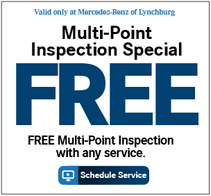 Valid only at Mercedes-Benz of Lynchburg. B Service Special 20% OFF*. Includes: Service at 20,000 miles or 2 years, synthetic motor oil replacement, oil filter replacement, cabin dust/combination filter replacement, all fluid level checks & corrections (dependent on factory-recommended service intervals for your vehicle's year/model), tire inflation check & correction, reset maintenance counter, brake component Inspection and brake fluid exchange. Maximum discount of $100.00.Price advertised for Service A/Service B includes all factory-required components. Please refer to your maintenance booklet for the complete list of factory-required services and details on the specific intervals for your vehicle's year and model. For Mercedes-Benz vehicles MY09 or newer only Print Coupon.