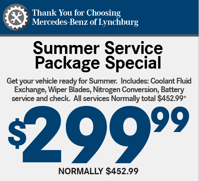 Thank You for Choosing Mercedes-Benz of Lynchburg. ALIGN-ROTATE-BALANCE TIRE SPECIAL-Now Only: $199.99* Normally $279.99.