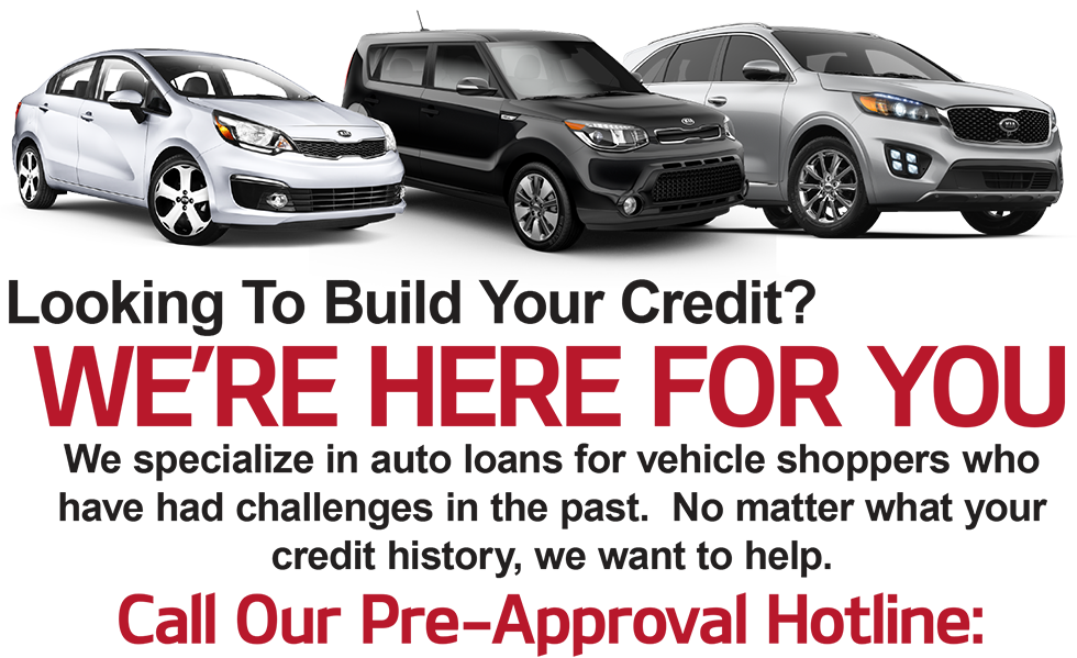 Looking To Build Your Credit? We are here for you. We specialize in auto loans for vehicle shoppers who have had challenges in the past.  No matter what your credit history, we want to help. Call Our Pre-Approval Hotline: 888-518-3550