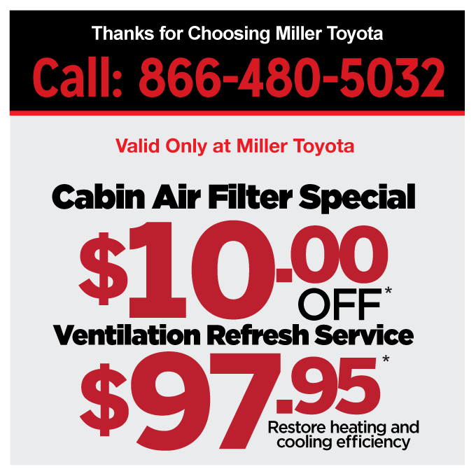 Cabin Air Filter Special $10 Off and Ventilation Refresh Service $97.95