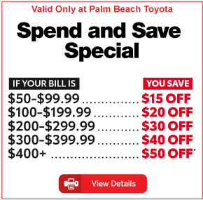 Palm Beach Toyota Tire Special Buy 3 get 4th tire for $1. Click for details.