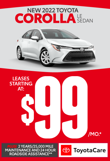 All new 2021 Toyota Corolla LE Leases starting at $99/mo. Plus 2 years/25K mile maintenance and 24-hour roadside assistance with Toyotacare.** Click here.