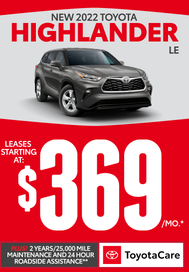 2021 Toyota Highlander LE Shop Inventory Now.  Plus 2 years/25K mile maintenance and 24-hour roadside assistance with Toyotacare.** Click for more.