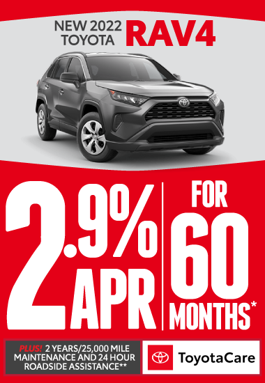 2021 Toyota RAV4. 1.9% APR for 60 Months.* Plus 2 years/25K mile maintenance and 24-hour roadside assistance with Toyotacare.** Click for more.