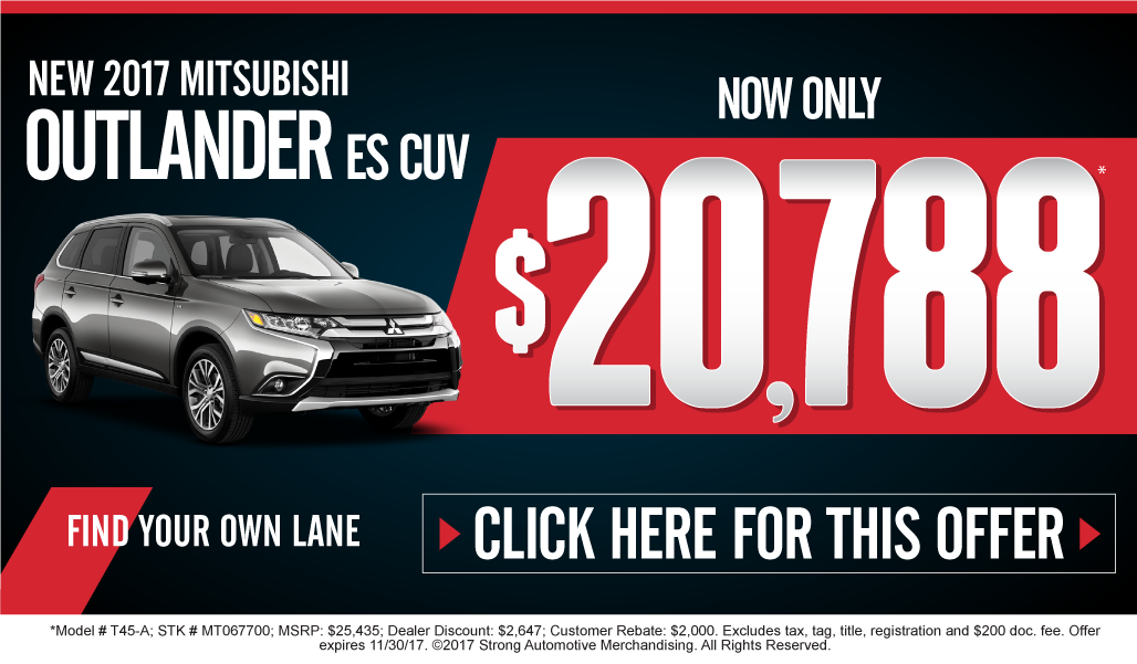 New Mitsubishi Outlander - on sale now. click here.