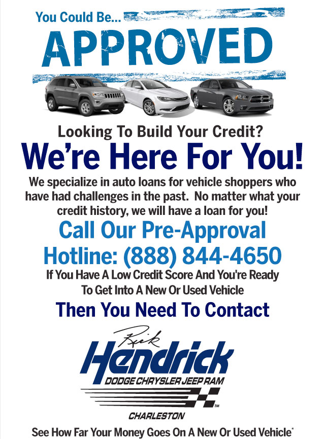 Looking To Rebuild Your Credit? We're Here For You!  We specialize in auto loans for vehicle shoppers who have had challenges in the past.  No matter what your credit history, we will have a loan for you!  Then You Need To Contact And Restore Your Credit Today!  Call Our Pre-Approval Hotline: 877-408-0594 If You Have A Low Credit Score And Someone Is Trying To Sell You A Cheap, Used Vehicle You Really Don't Want... Then You Need To Contact Hendrick Honda Easley And Restore Your Credit Today! See How Far Your Money Goes On A New Or Used Vehicle*
