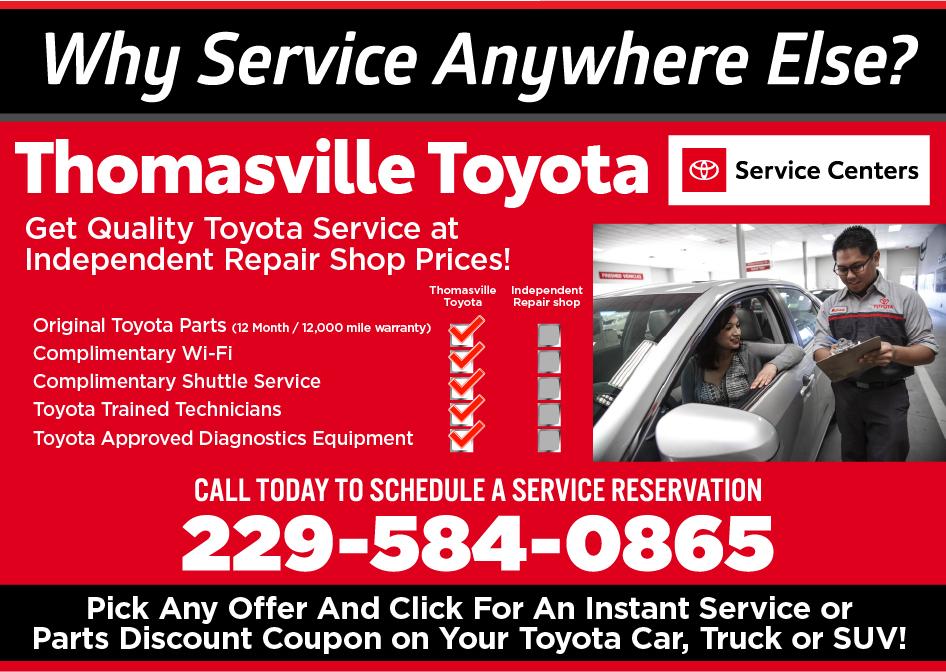 auto service specials thomasville toyota near tallahassee