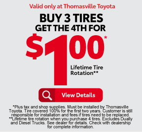 Buy 3 Tires, Get the 4th for $1 plus Lifetime Tire Rotation - Click to View Details