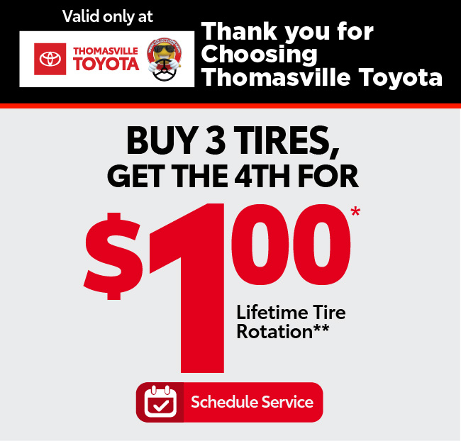 Buy 3 Tires, Get the 4th for $1 plus Lifetime Tire Rotation - Click to Schedule Service