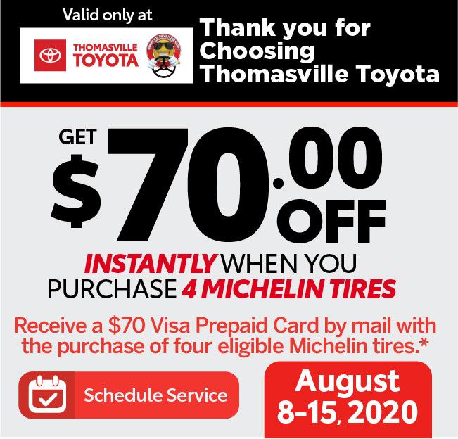 Michelin Mail-in Rebate June 1-30, 2020 - Receive a $70 Visa Prepaid card by mail with the purchase of four eligible Michelin tires - Click to Schedule Service