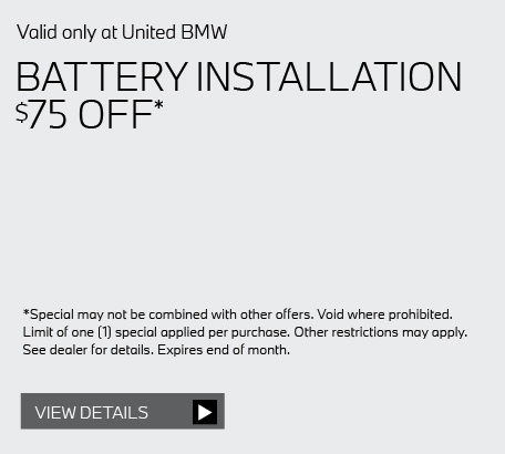 Valid only at United BMW: ANY PREVIOUSLY RECOMMENDED SERVICES FROM UNITED BMW 10% OFF* click here for details.