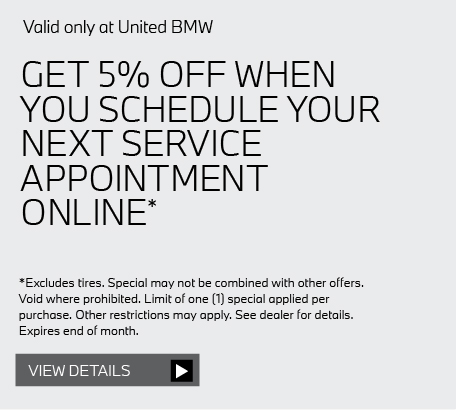 Valid only at United BMW: SCHEDULE YOUR BMW VALET PICK UP OR DROP OFF TODAY COMPLIMENTARY*. Get details here.
