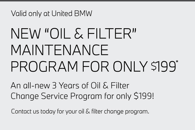 Valid only at United BMW. complimentary  service inspection* includes a battery diagnostic test, tire tread depth check, and visual inspection of brakes, belts and hoses.