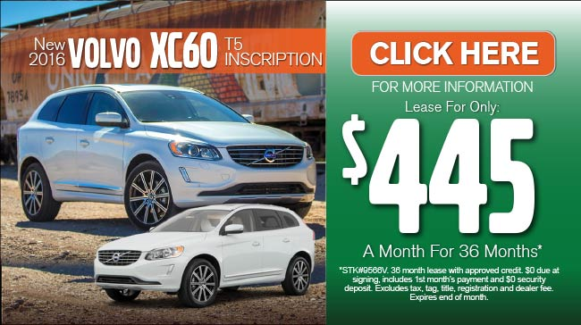 New 2016 Volvo XC60 T5 Platinum SUV $468 a month for 36 months after $3500 due at signing.