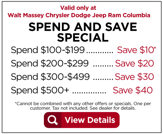 Spend and Save Special Spend $100-$199 Save $10 Spend $200-$299 Save $20 Spend $300-$499 Save $30 Spend $500 or more Save $40. View details.