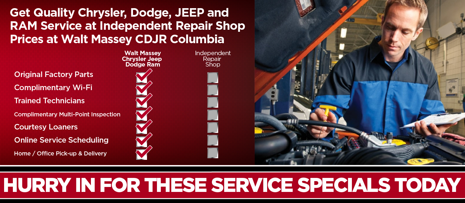 Get quality Chrysler Dodge Jeep Ram Columbia Service at Independent Repair Shop Prices at Walt Massey CDJR