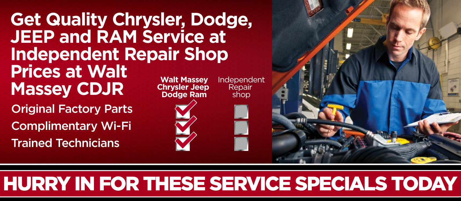 Get quality Chrysler Dodge Jeep Ram Service at Independent Repair Shop Prices at Walt Massey CDJR