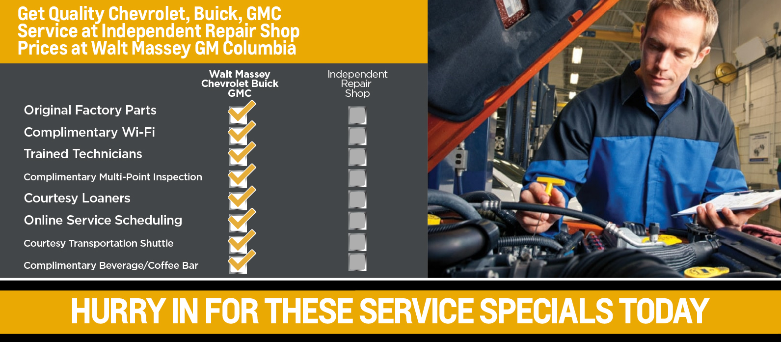 Get quality GM Columbia Service at Independent Repair Shop Prices at Walt Massey CDJR